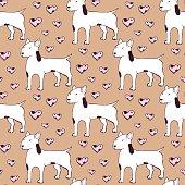 Sketch bullterrier seamless pattern
