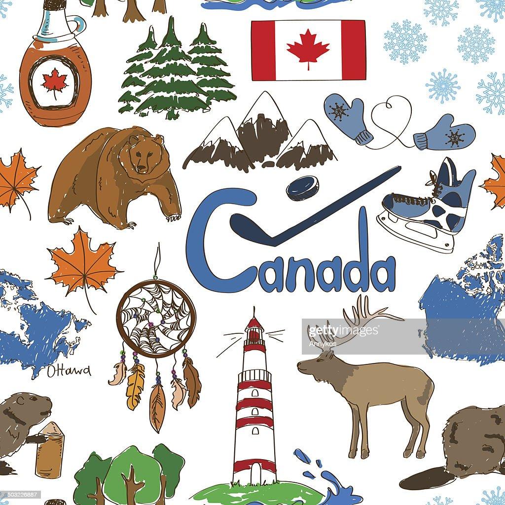 Sketch Canada seamless pattern