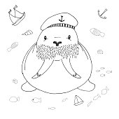Sketch cute walrus. Vector illustration in doodle style.