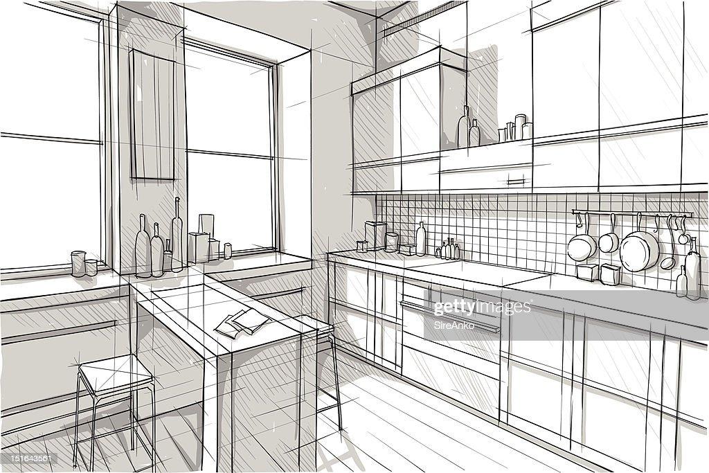 A sketch design of a modern kitchen space