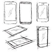 Sketch different phones, smartphones. Vector illustration.