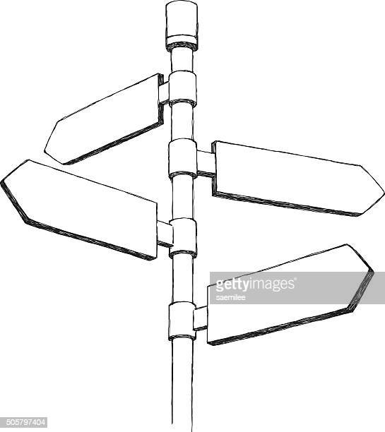 sketch directional sign - directional sign stock illustrations