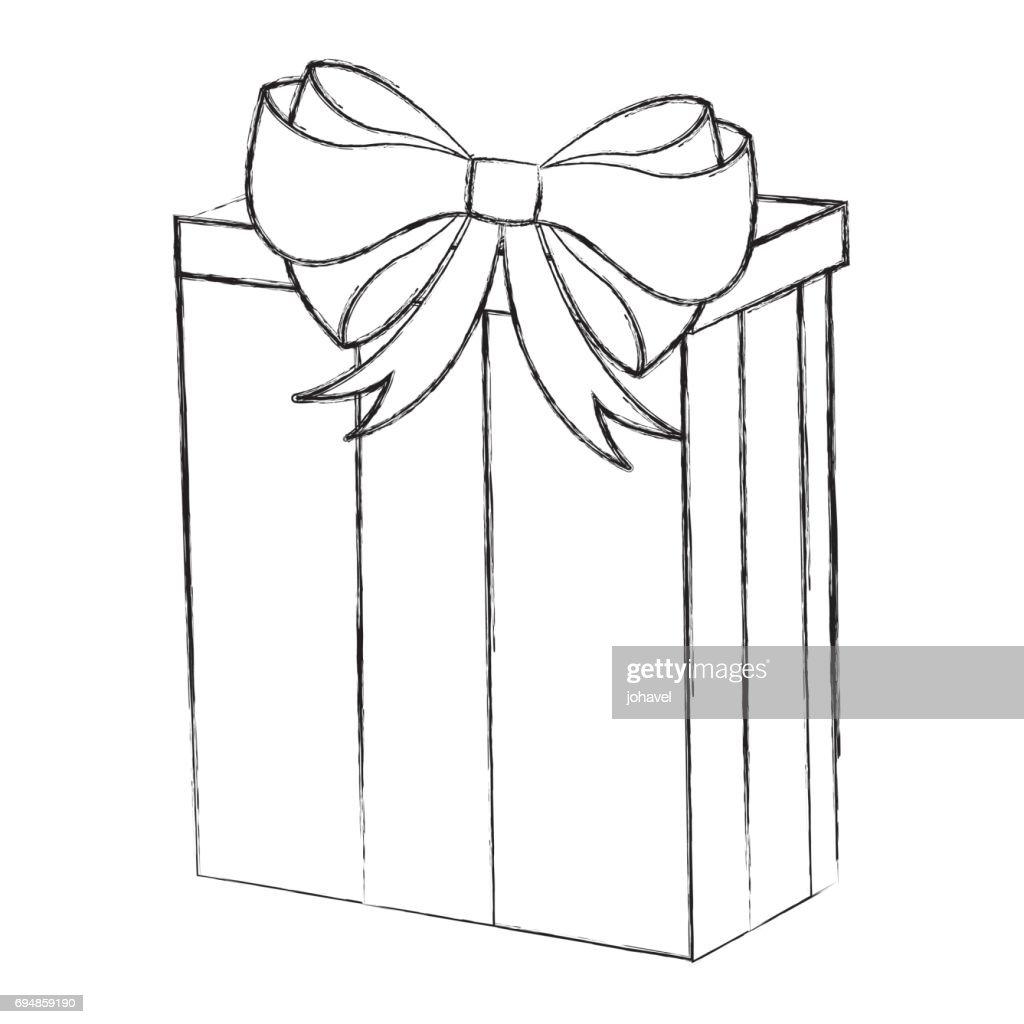 Skizze Zu Weihnachten Geschenk Karikatur Zeichnen Vektorgrafik ...