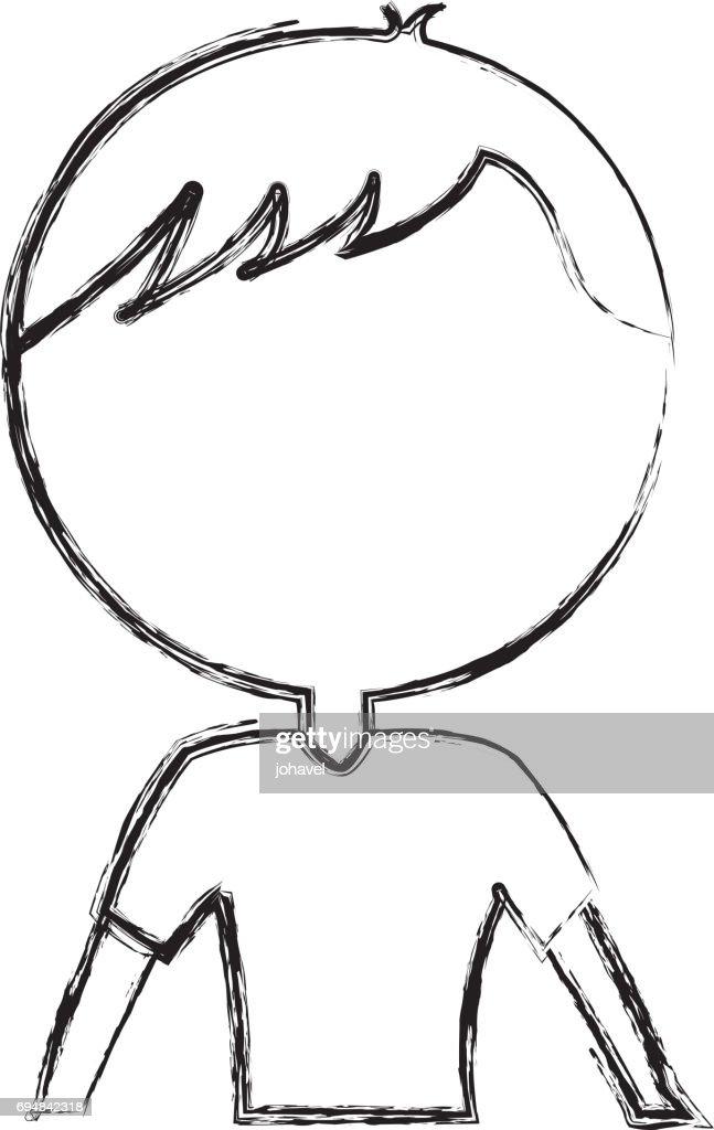 Skizze Zu Zeichnen Oberkörper Mann Cartoon Vektorgrafik | Getty Images