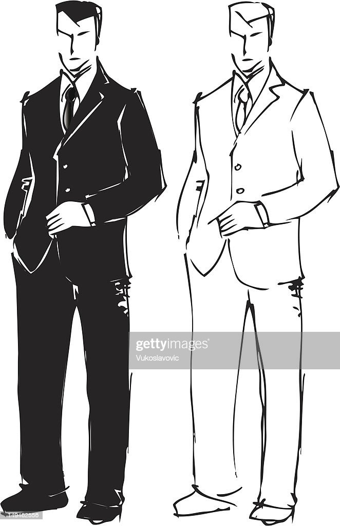 Sketch drawing of man in suit. : stock illustration