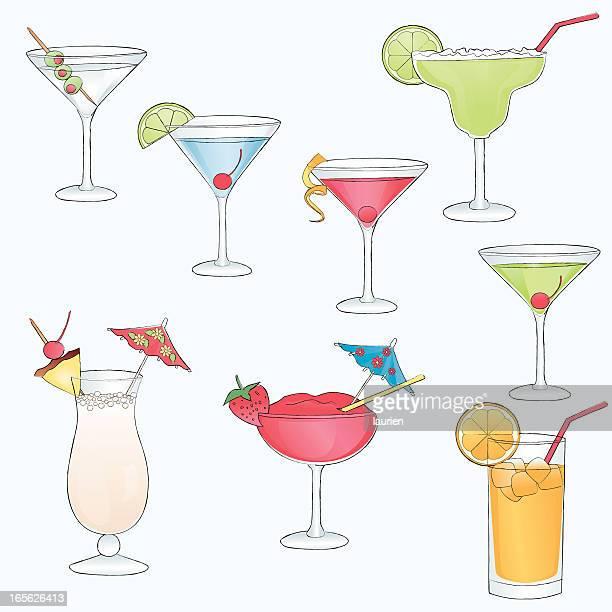 sketch drawn cocktail drinks. - margarita stock illustrations, clip art, cartoons, & icons