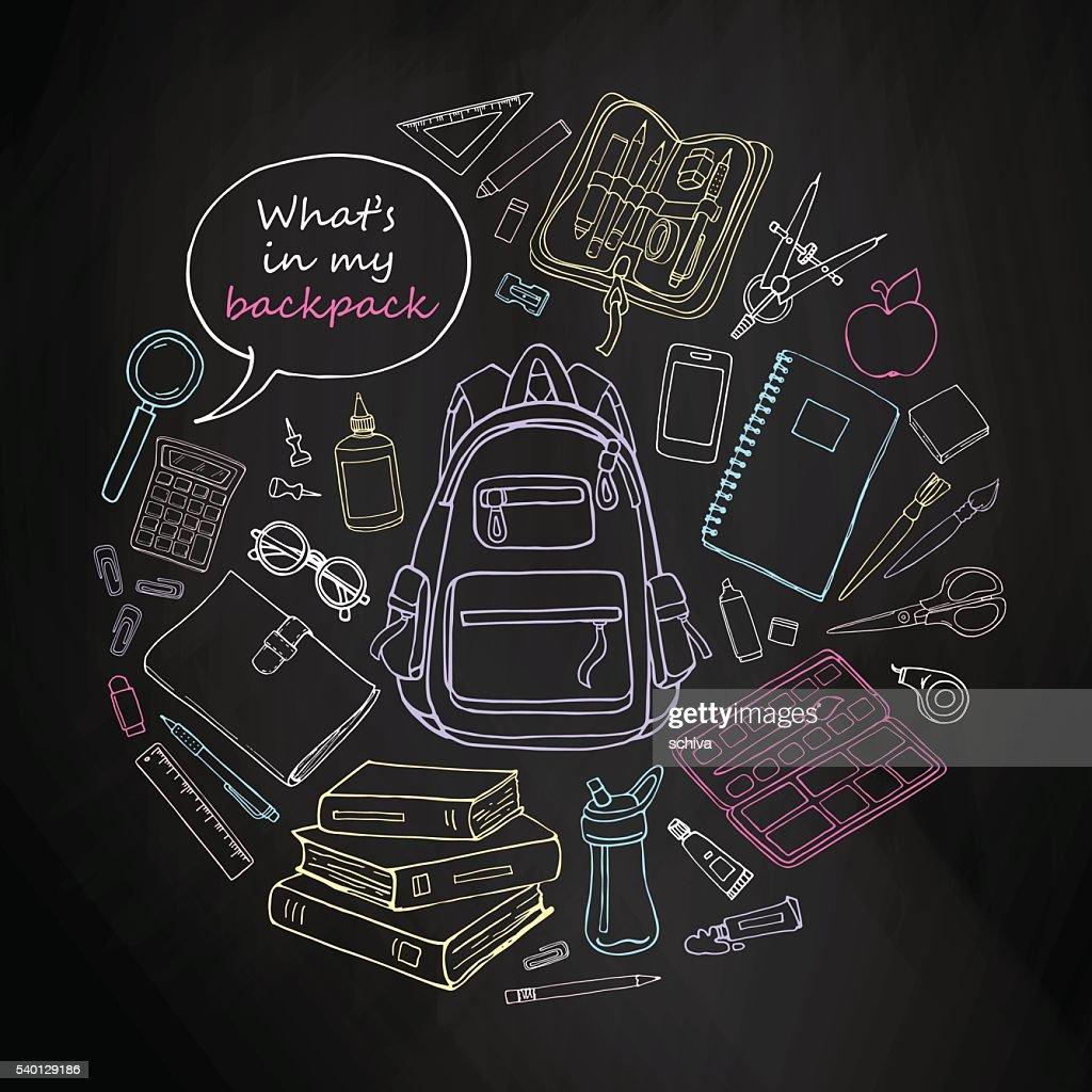 Sketch educations objects in round shape on blackboard