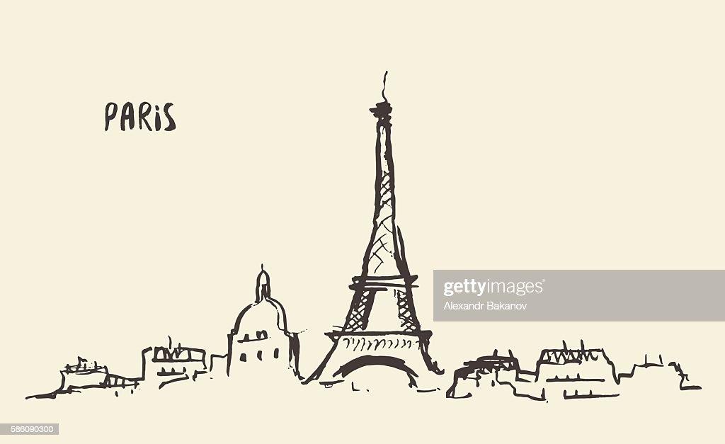 Sketch Eiffel Tower Paris, vector illustration.