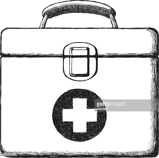 sketch first aid kit - percussion instrument stock illustrations