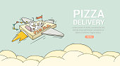 Sketch flying little people on pizza