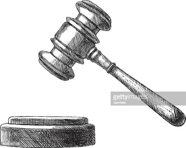 sketch gavel - courthouse stock illustrations, clip art, cartoons, & icons