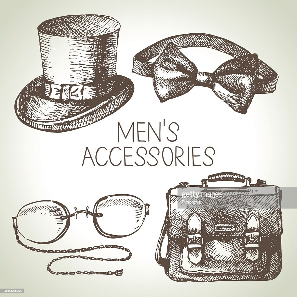 Sketch gentlemen accessories. Hand drawn men illustrations set