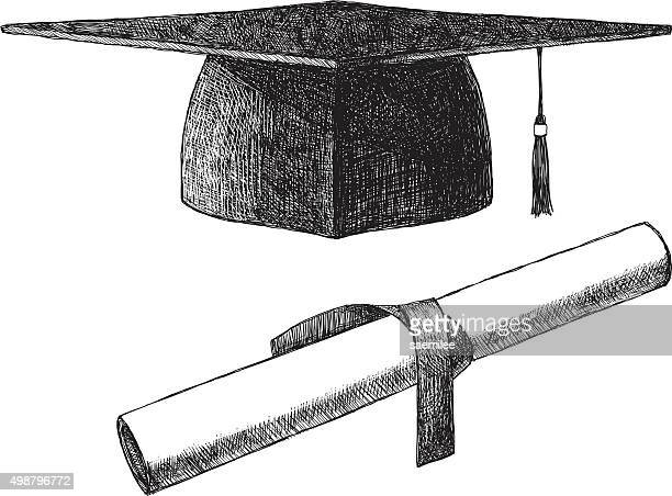 sketch graduation cap - cap hat stock illustrations, clip art, cartoons, & icons