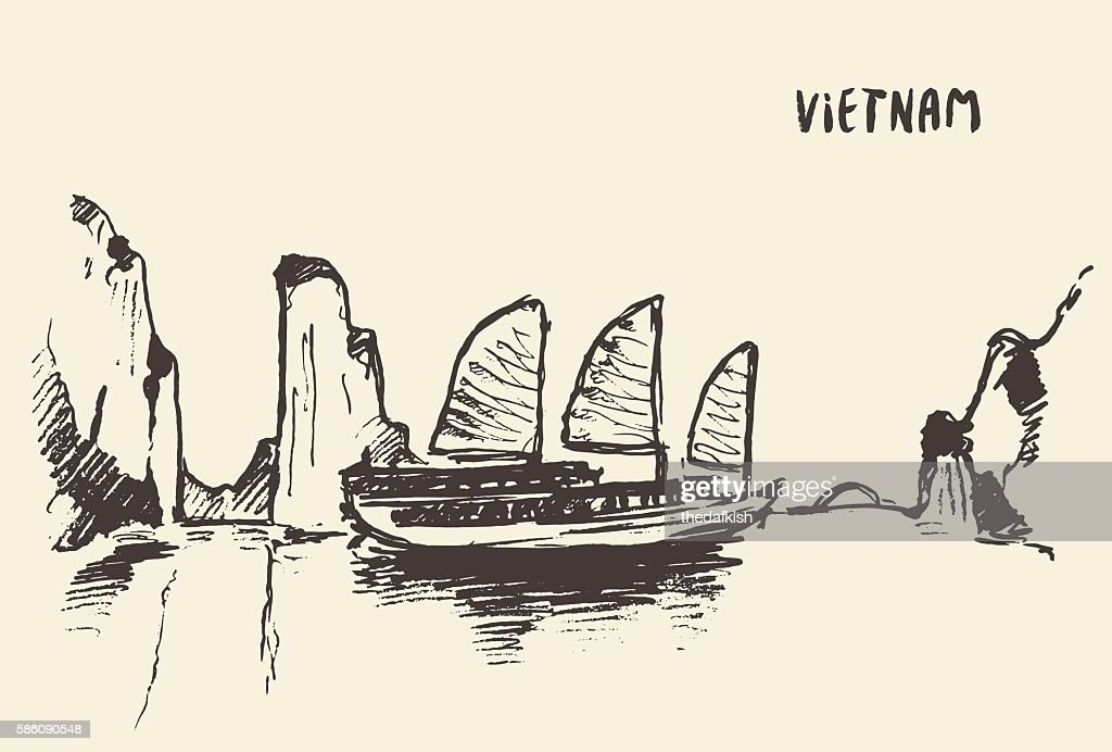 Sketch Halong Bay Vietnam Vector illustration.