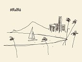 Sketch Hawaiian seaside view vector drawn.