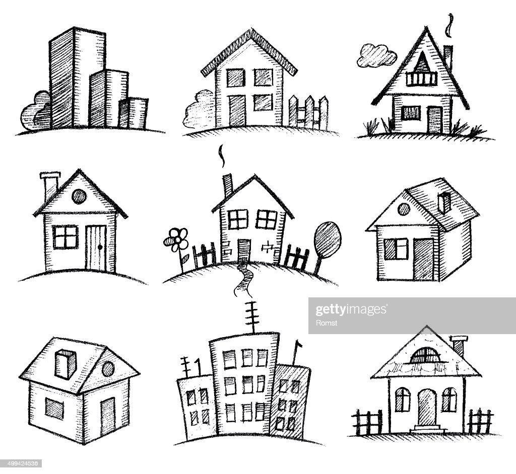 sketch houses icon set
