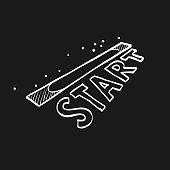 Sketch icon in black - Starting line