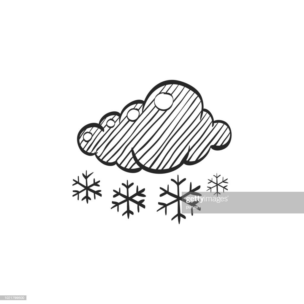 Sketch icon - Weather overcast snowing