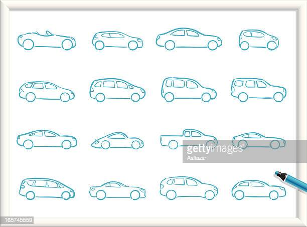 sketch icons - cars - hatchback stock illustrations, clip art, cartoons, & icons
