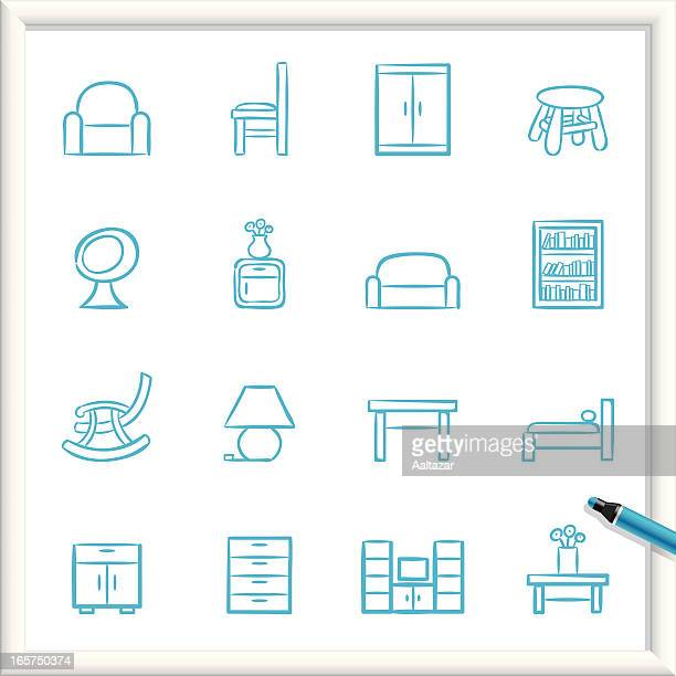 sketch icons - furniture - cabinet stock illustrations, clip art, cartoons, & icons