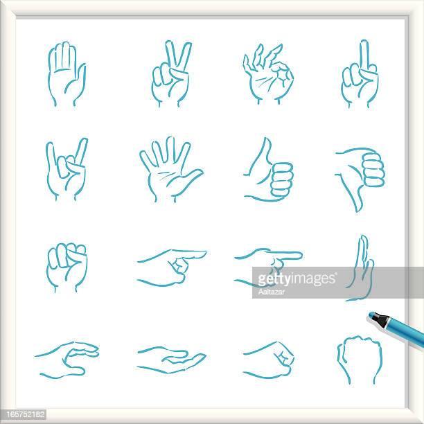 illustrations, cliparts, dessins animés et icônes de croquis icônes-main - doigt dhonneur