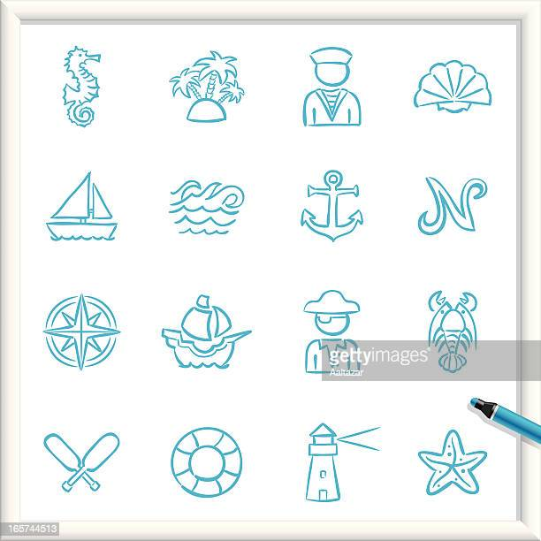 sketch icons - nautical - pirate boat stock illustrations, clip art, cartoons, & icons