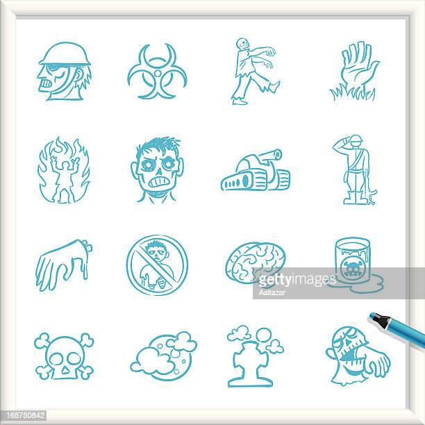 sketch icons - zombie infestation - infestation stock illustrations, clip art, cartoons, & icons