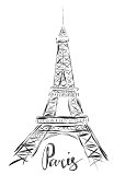 Sketch illustration of Eiffel Tower on white background and hand writing word Paris