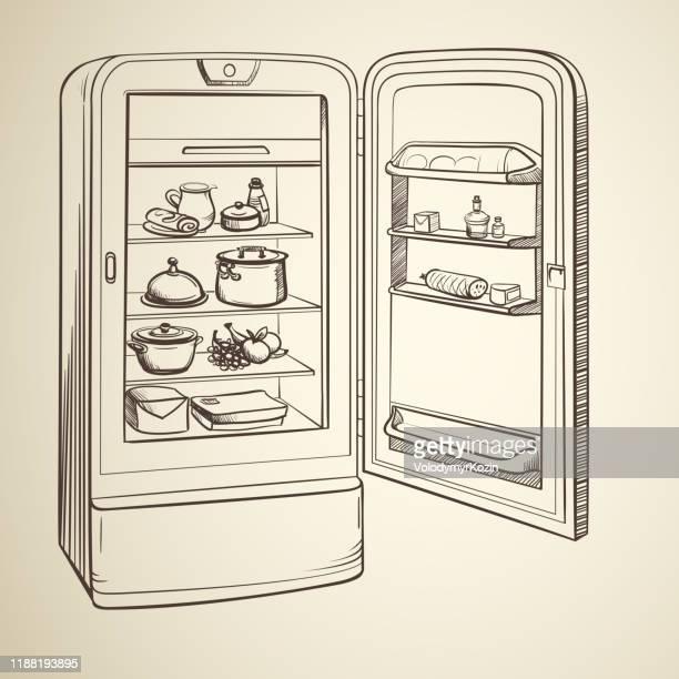 食料品とレトロな冷蔵庫のスケッチイラスト - 冷蔵庫点のイラスト素材/クリップアート素材/マンガ素材/アイコン素材