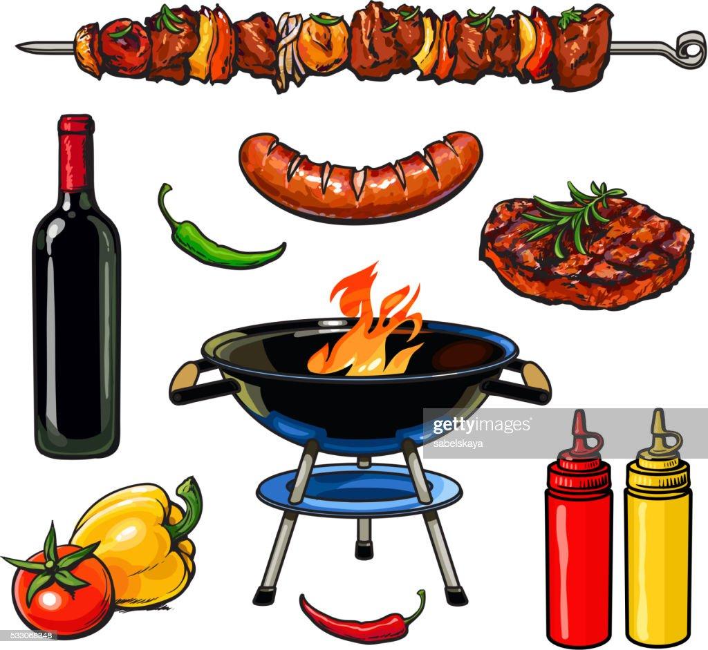 sketch kebab meat sausage steak with sauce
