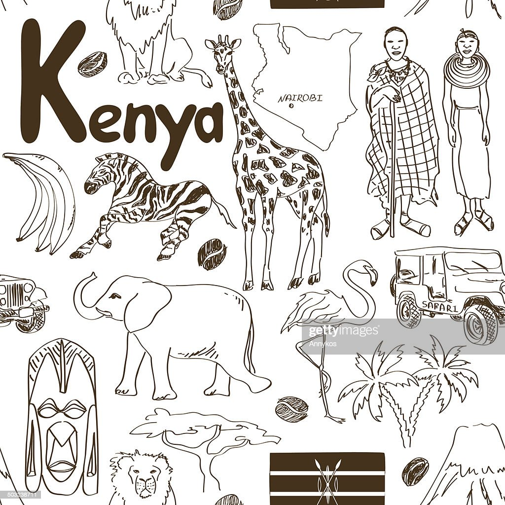 Sketch Kenya seamless pattern