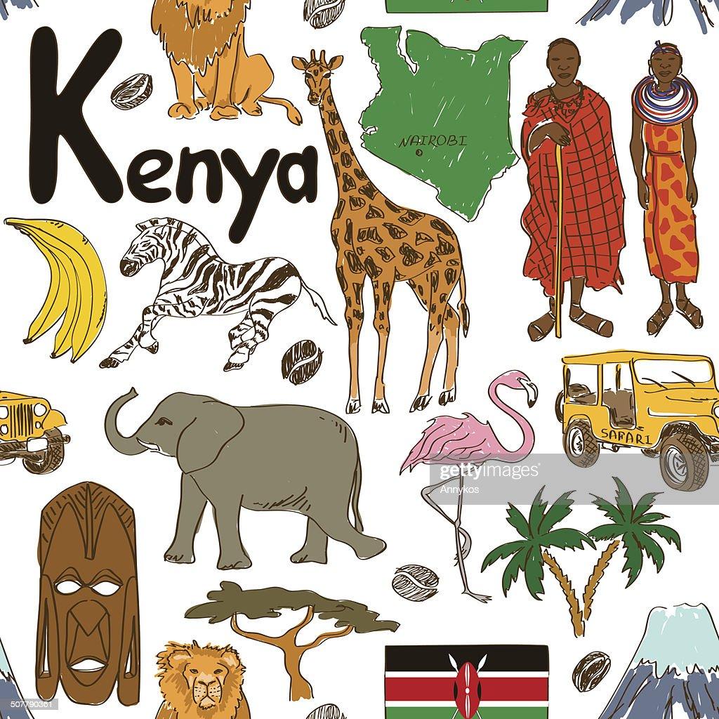 Sketch Kenya seamless pattern