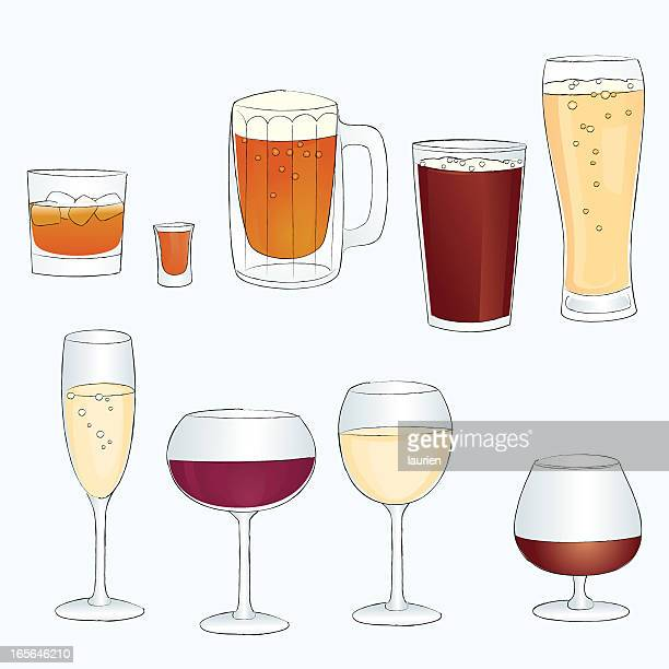 sketch line style alcoholic in bar glasses - shot glass stock illustrations, clip art, cartoons, & icons