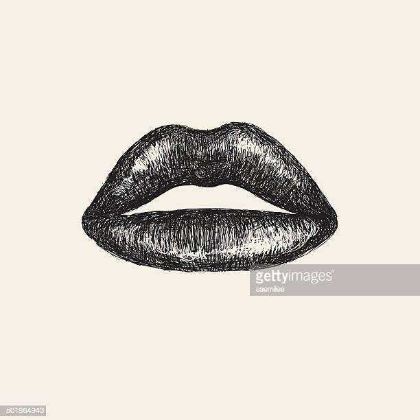 sketch lips - mouth stock illustrations, clip art, cartoons, & icons