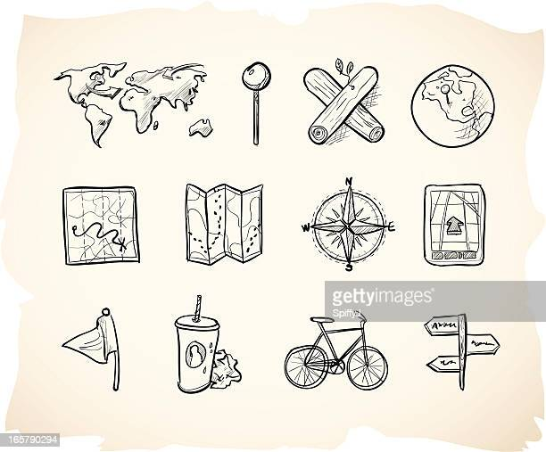 sketch map icons - golf flag stock illustrations