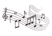 Sketch musical sound wave with music notes. Hand drawn vector illustration