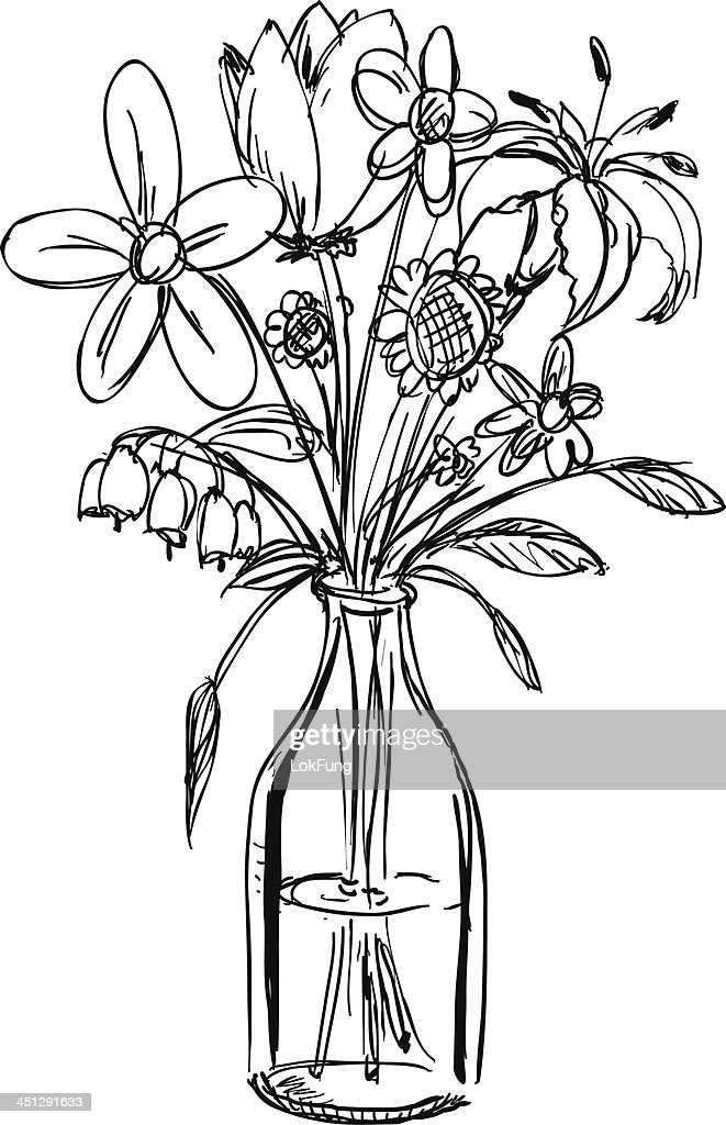 Sketch Of A Bouquet Of Flowers In A Waterfilled Vase Vector Art