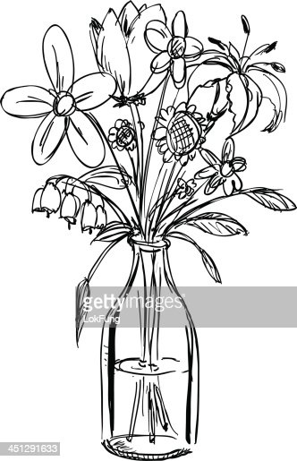 Sketch Of A Bouquet Of Flowers In A Waterfilled Vase ...