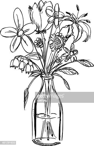 Sketch of a bouquet of flowers in a water-filled vase