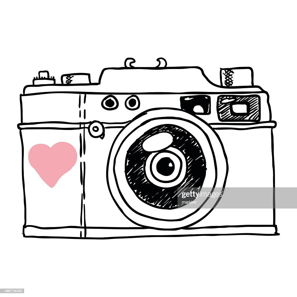 Sketch of a camera with a pink heart