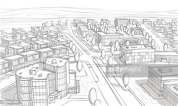 a sketch of a city from above  - borough district type stock illustrations