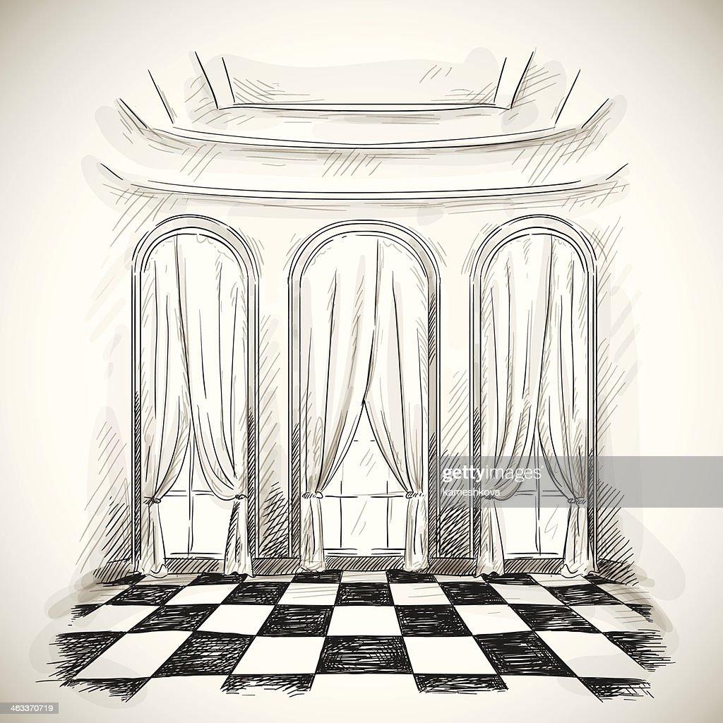 sketch of a classic parlor ballroom
