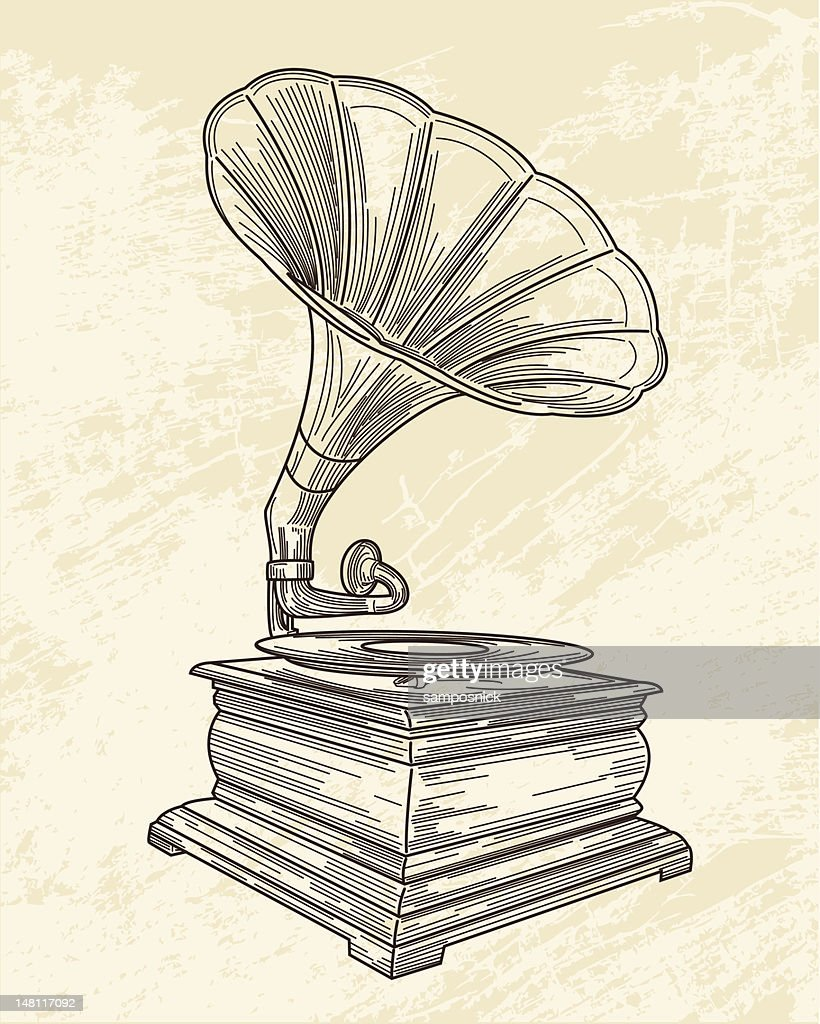 sketch of a gramophone on old paper high res vector graphic getty images sketch of a gramophone on old paper high res vector graphic getty images