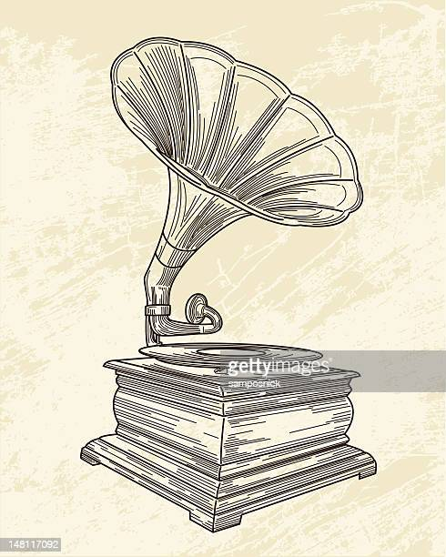 sketch of a gramophone on old paper - gramophone stock illustrations, clip art, cartoons, & icons