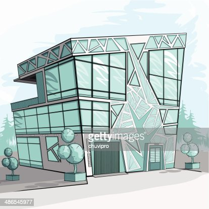 Sketch of a modern house vector art getty images for Modern house design sketch