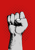 Sketch of a right fist on red background