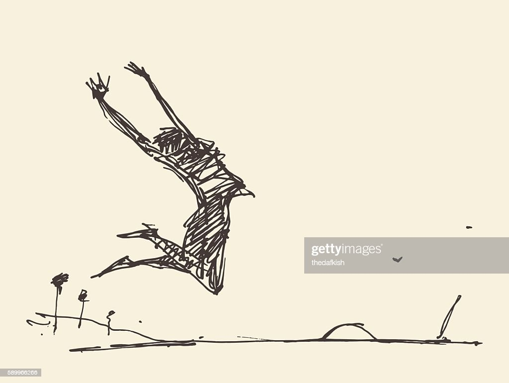 Sketch of a silhouette jumping person vector.