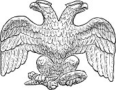 Sketch of an imperial two-headed eagle