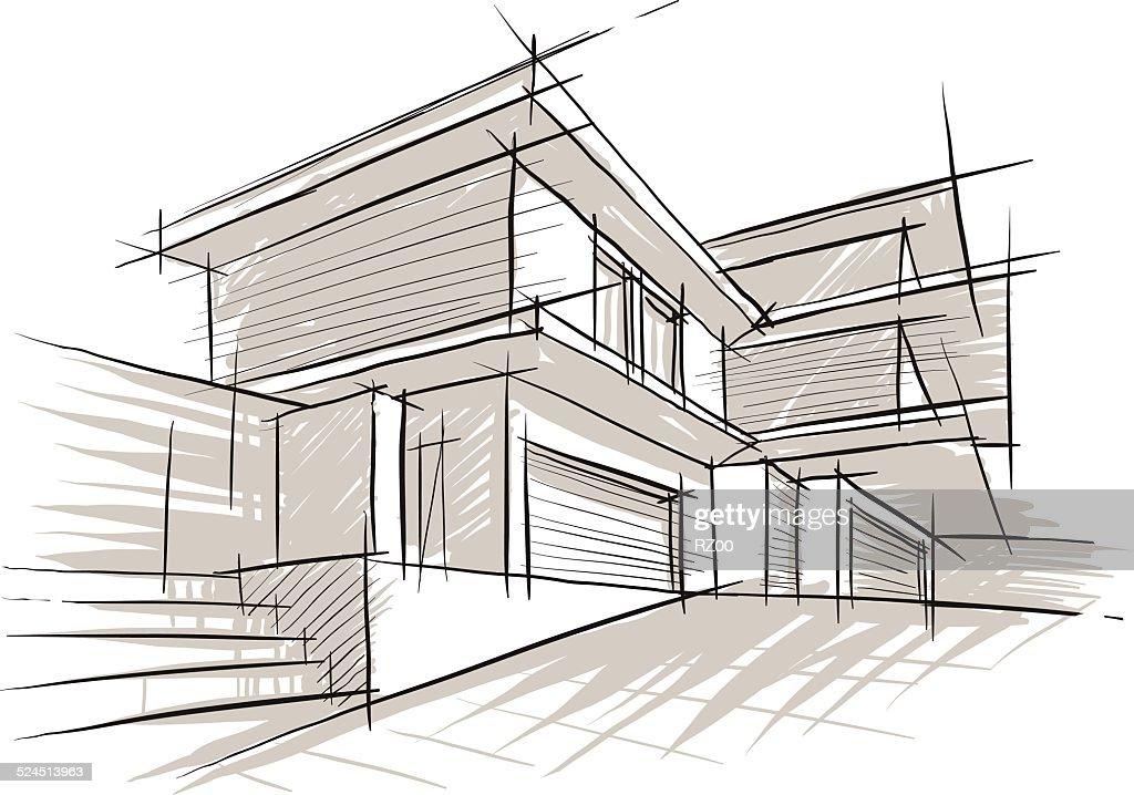 Skizze der architektur vektorgrafik getty images - Architektur skizze ...
