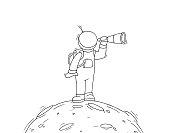 Sketch of astronaut with spyglass.